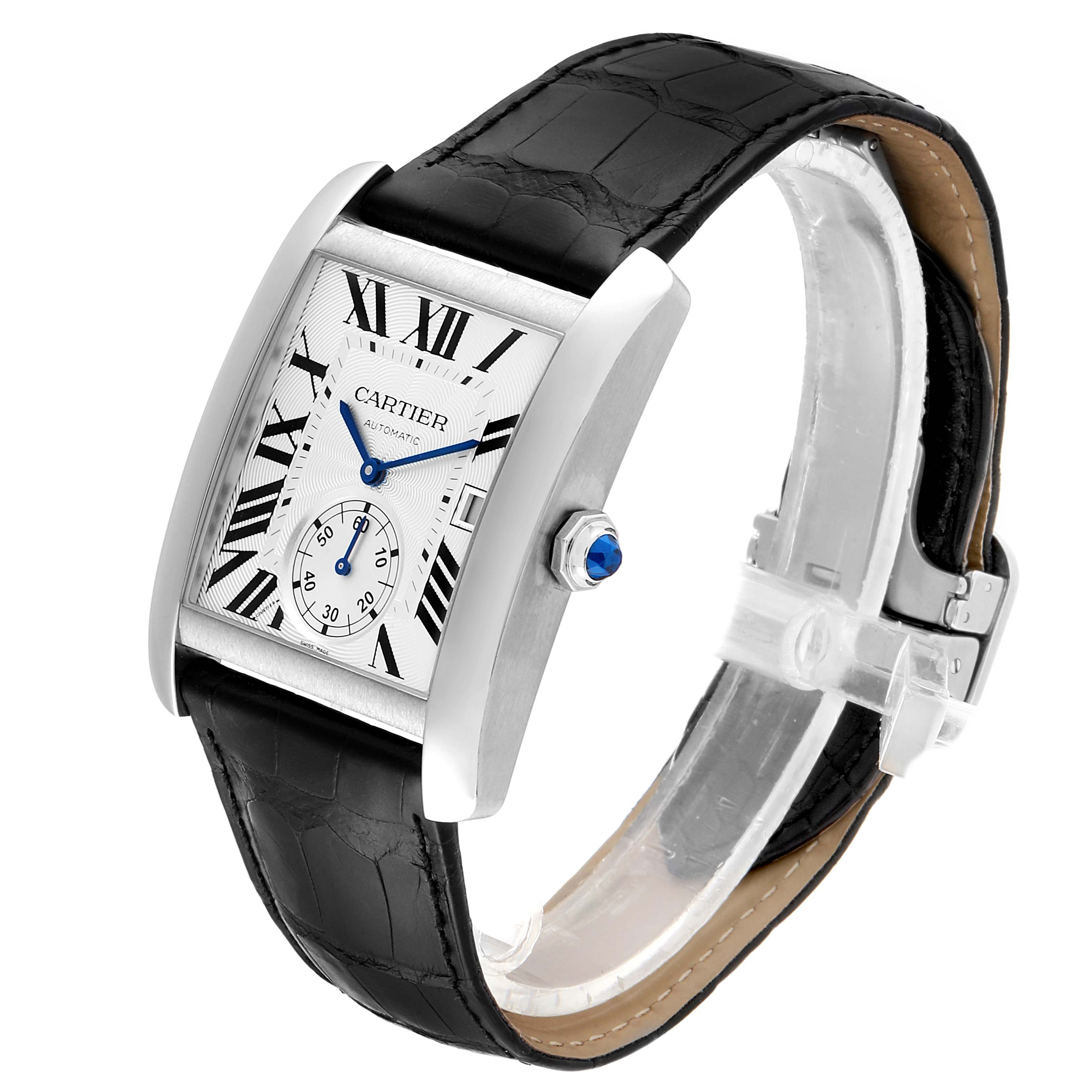 Cartier Tank MC Silver Dial Steel Mens Watch W5330003 Box Card SwissWatchExpo
