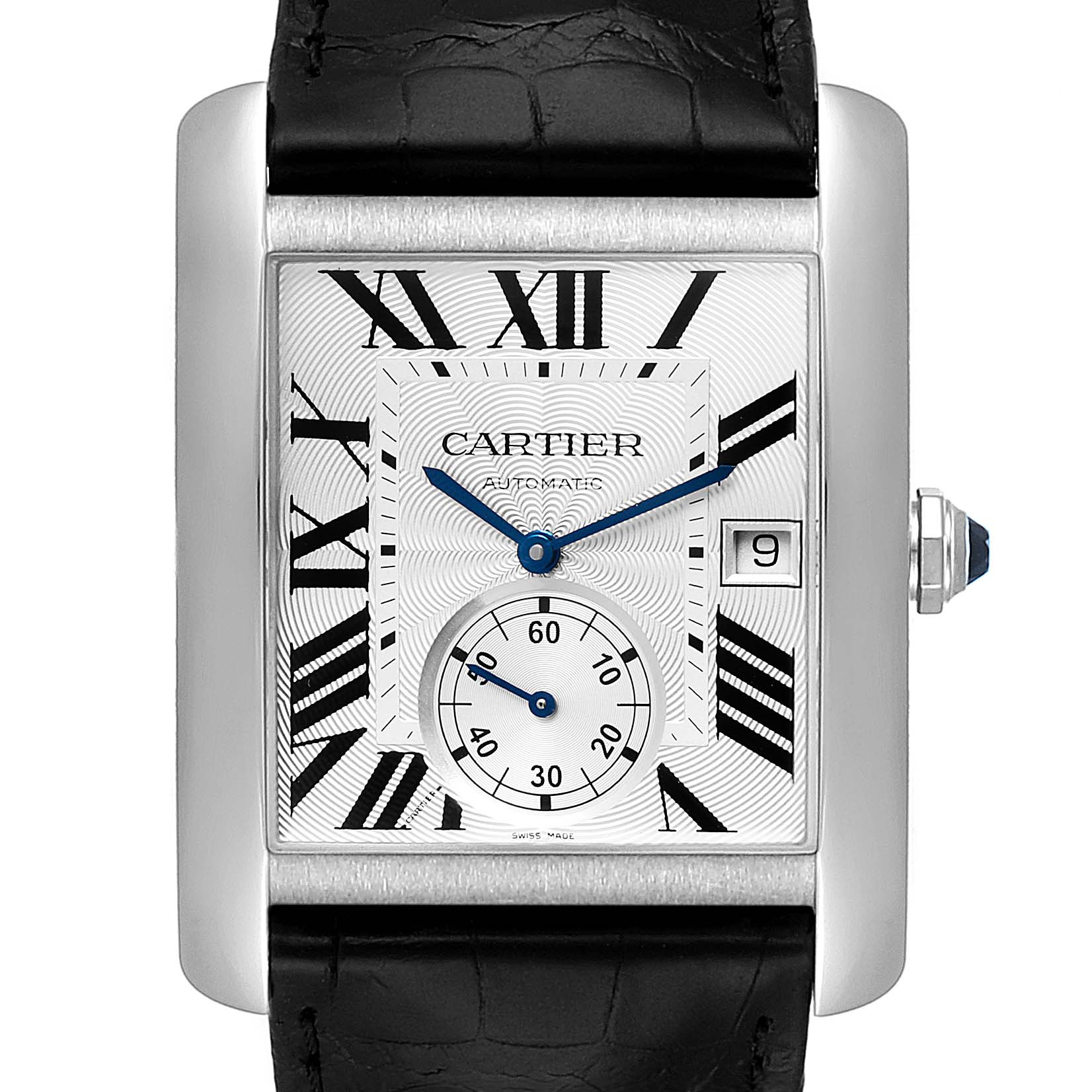 Cartier Tank MC Silver Dial Steel Mens Watch W5330003 Box Card
