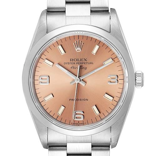 Photo of Rolex Air King 34 Salmon Baton Dial Domed Bezel Steel Mens Watch 14000