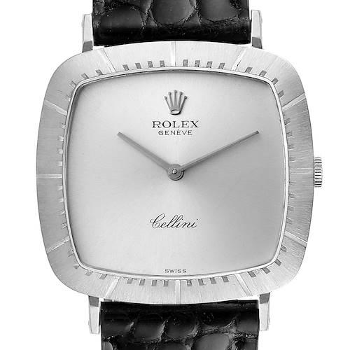 Photo of Rolex Cellini 18k White Gold Black Strap Mens Vintage Watch 4048