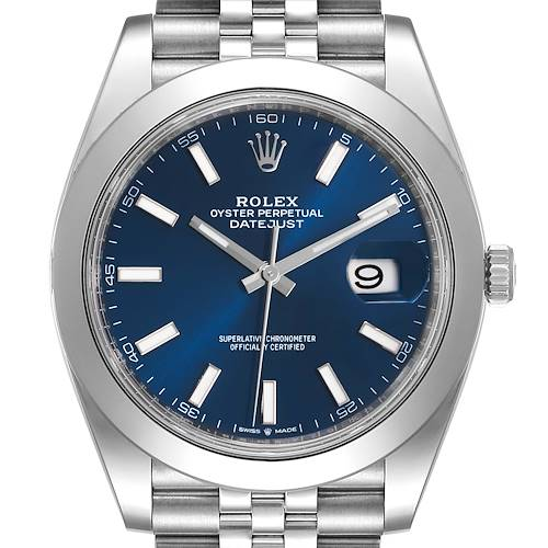 Photo of Rolex Datejust 41 Blue Dial Jubilee Bracelet Steel Watch 126300 Box Papers