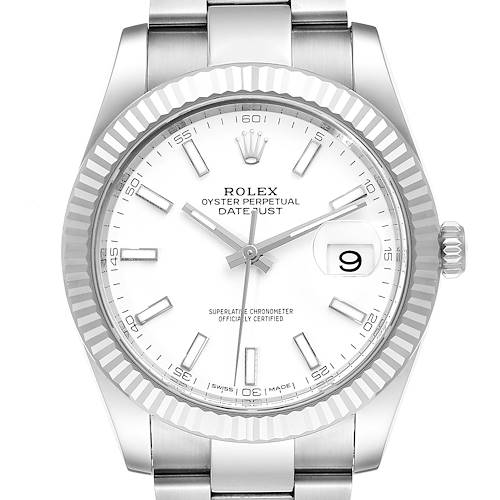 Photo of Rolex Datejust 41 Steel White Gold Fluted Bezel Mens Watch 126334