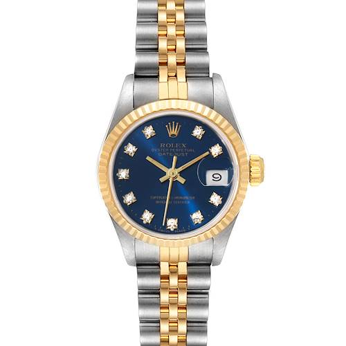 Photo of Rolex Datejust Steel Yellow Gold Blue Diamond Dial Ladies Watch 69173