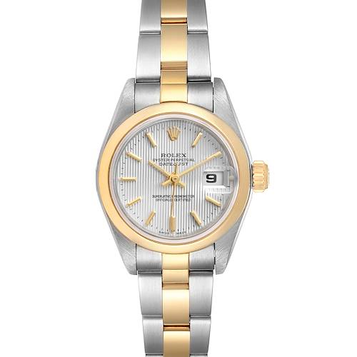 Photo of Rolex Datejust Steel Yellow Gold Silver Tapestry Dial Ladies Watch 79163