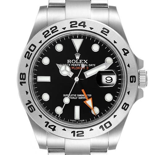 Photo of Rolex Explorer II 42 Black Dial Orange Hand Steel Watch 216570 Box Card