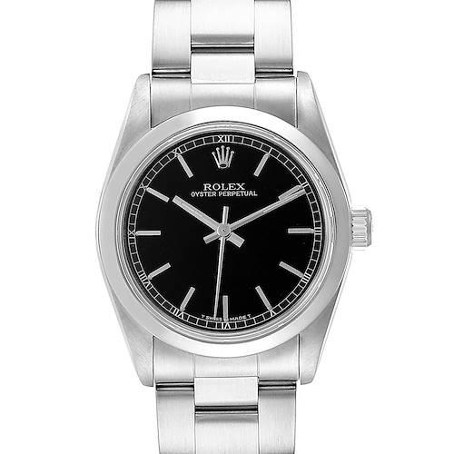 Photo of Rolex Midsize 31 Black Baton Dial Steel Ladies Watch 67480