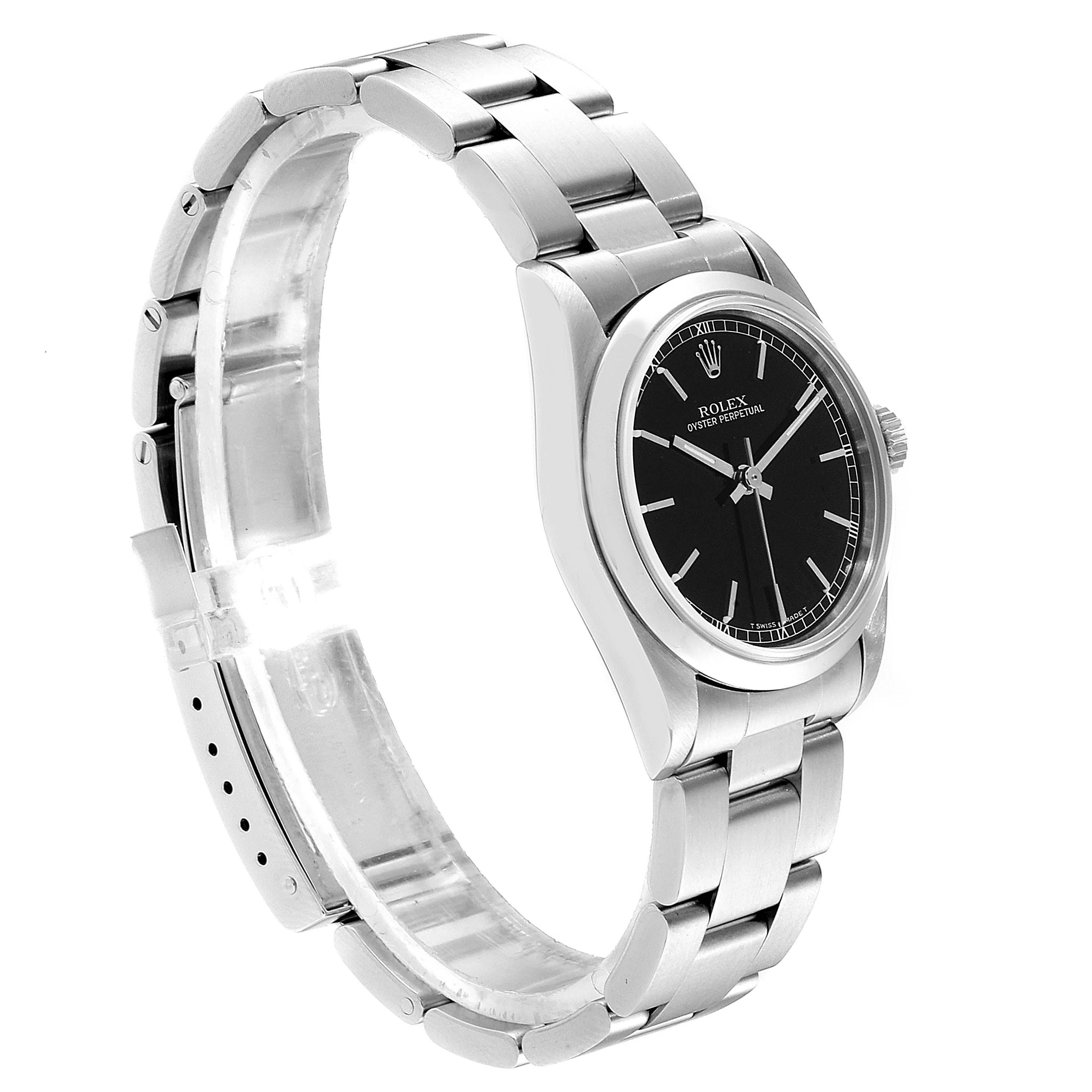 Rolex Midsize 31 Black Baton Dial Steel Ladies Watch 77080 SwissWatchExpo