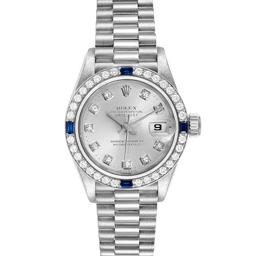 Photo of Rolex President Datejust White Gold Diamond Sapphire Ladies Watch 79089