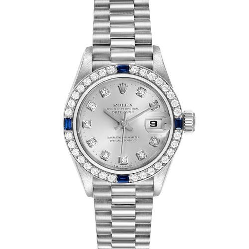 Photo of Rolex President Datejust White Gold Diamond Sapphire Ladies Watch 79089