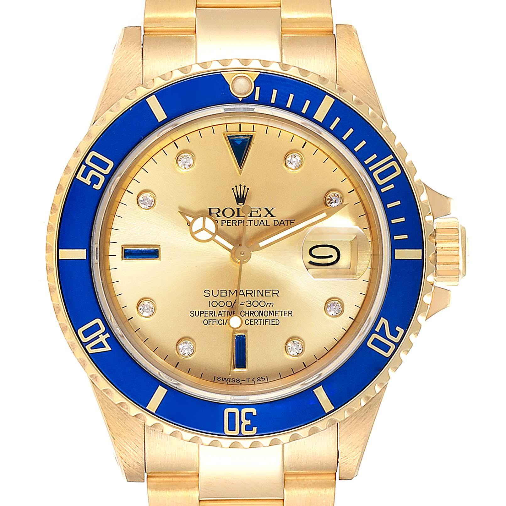Rolex Submariner Yellow Gold Diamond Sapphire Serti Dial Watch 16808