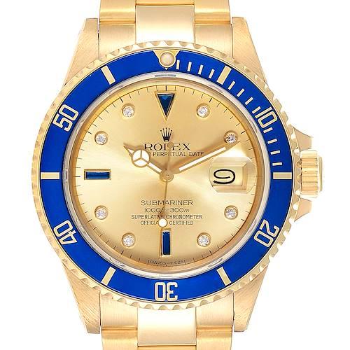 Photo of Rolex Submariner Yellow Gold Diamond Sapphire Serti Dial Watch 16808