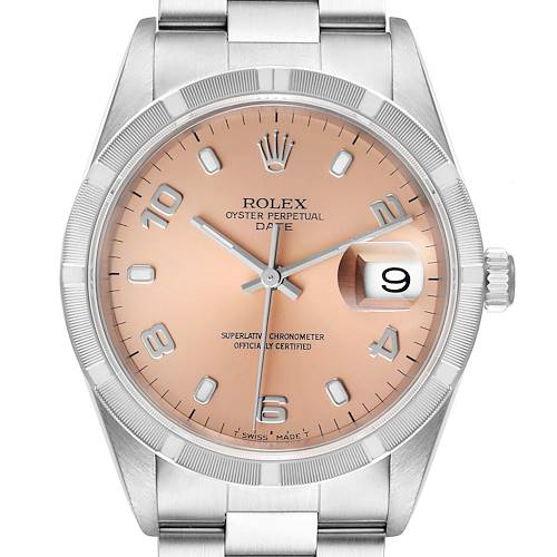 Photo of Rolex Date Salmon Dial Oyster Bracelet Steel Mens Watch 15210