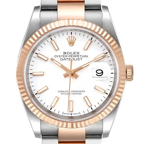 Photo of Rolex Datejust 36 Steel EveRose Gold White Dial Mens Watch 126231 Box Card