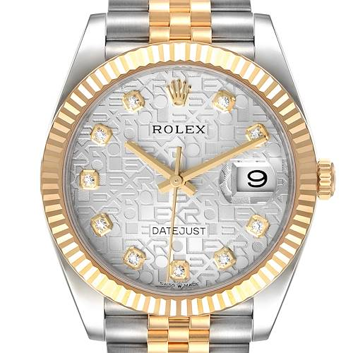 Photo of Rolex Datejust Steel Yellow Gold Diamond Dial Mens Watch 126233 Box Card