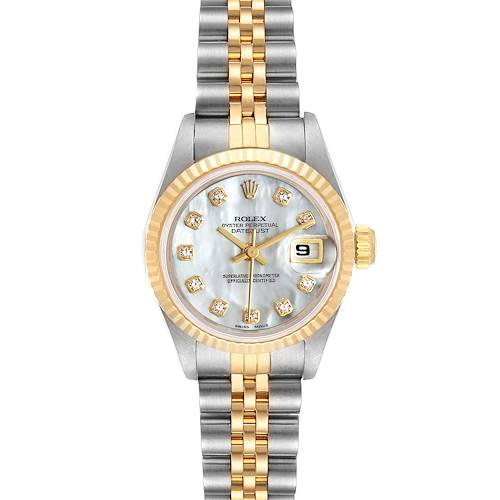 Photo of Rolex Datejust Steel Yellow Gold MOP Diamond Dial Ladies Watch 69173