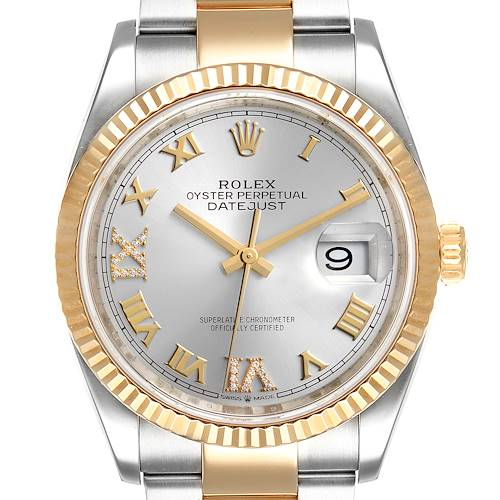 Photo of Rolex Datejust Steel Yellow Gold Silver Diamond Dial Mens Watch 126233