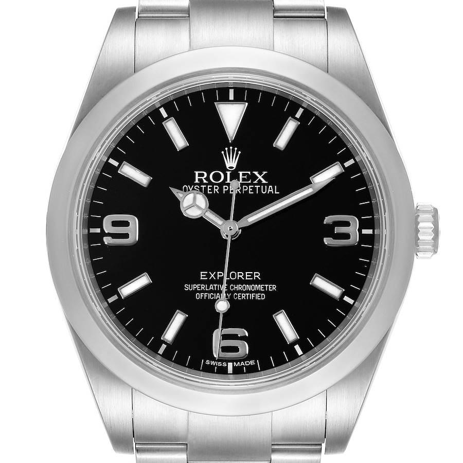 Rolex Explorer I 39mm Automatic Black Dial Steel Mens Watch 214270 SwissWatchExpo