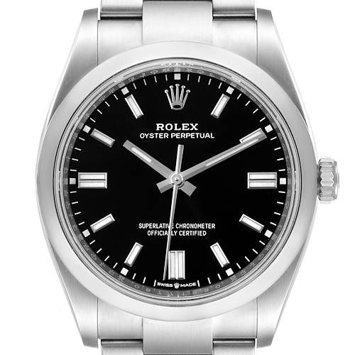 Photo of Rolex Oyster Perpetual Black Dial Steel Mens Watch 126000 Unworn
