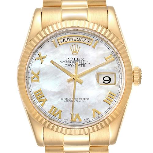 Photo of Rolex President Day Date Yellow Gold MOP Dial Mens Watch 118238 Box Papers