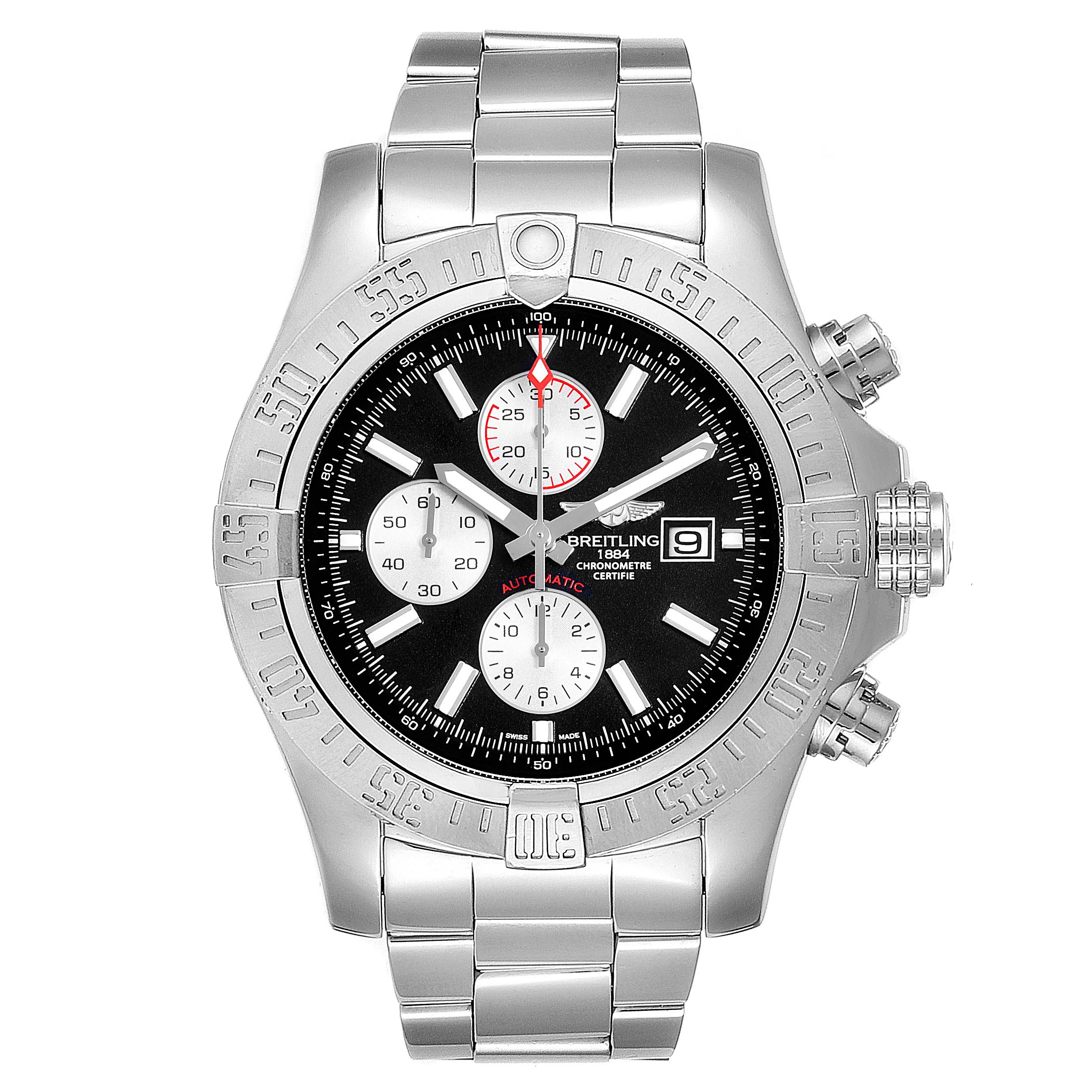 Breitling Aeromarine Super Avenger Steel Mens Watch A13371 Box Papers SwissWatchExpo