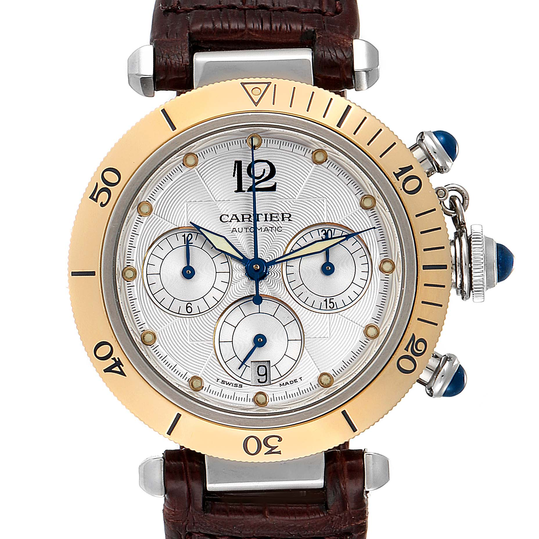 Cartier Pasha 38mm Chronograph Steel Yellow Gold Mens Watch W3014051
