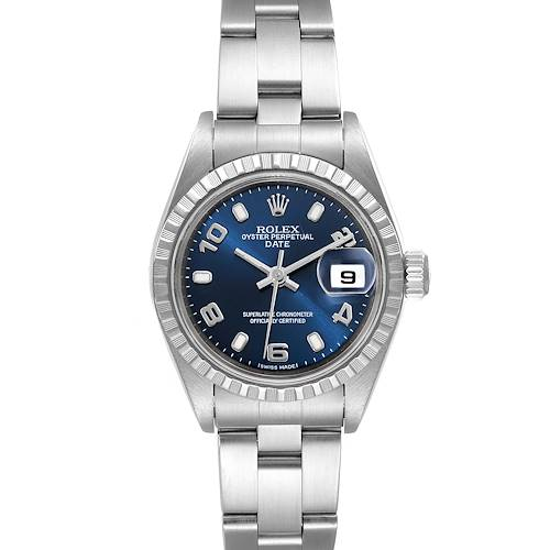 Photo of Rolex Date Blue Dial Oyster Bracelet Steel Watch 79240