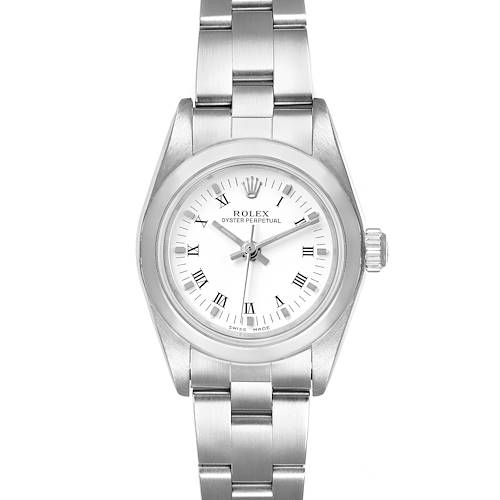 Photo of Rolex Oyster Perpetual Nondate White Roman Dial Ladies Watch 76080
