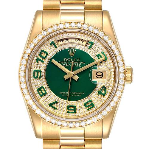 Photo of Rolex President Day Date Yellow Gold Green Enamel Diamond Mens Watch 118348