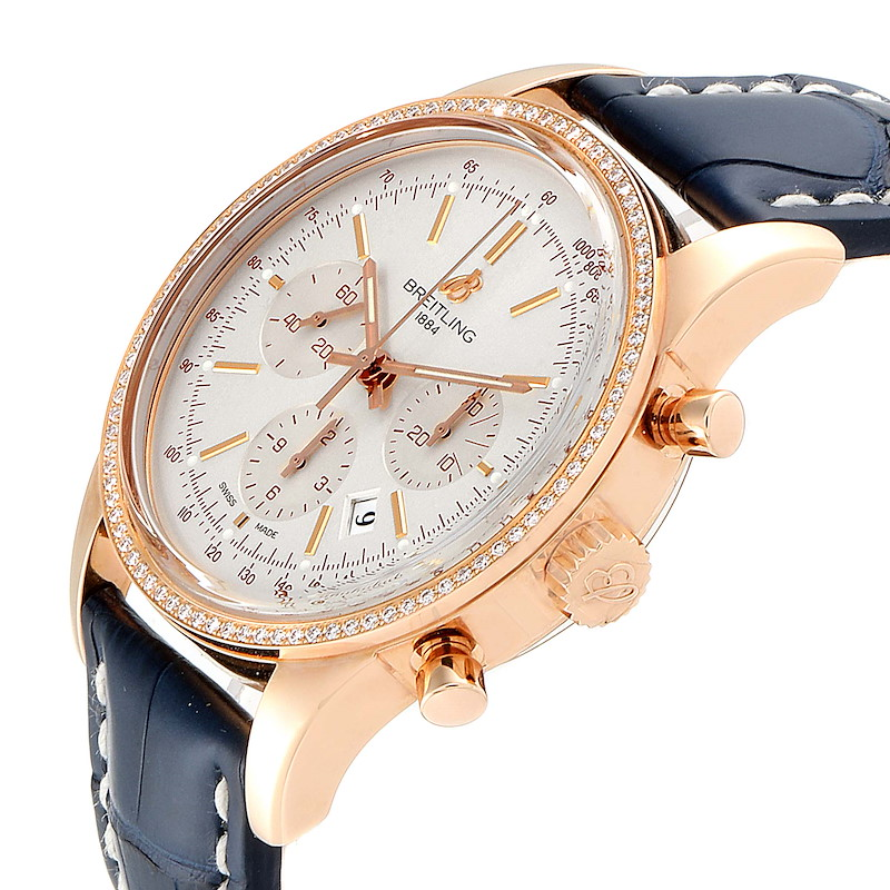 Breitling Transocean 43mm Rose Gold Diamond Mens Watch RB0152 Unworn SwissWatchExpo