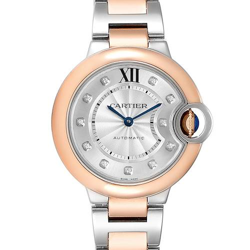 Photo of Cartier Ballon Bleu 33 Steel Rose Gold Diamond Ladies Watch WE902061