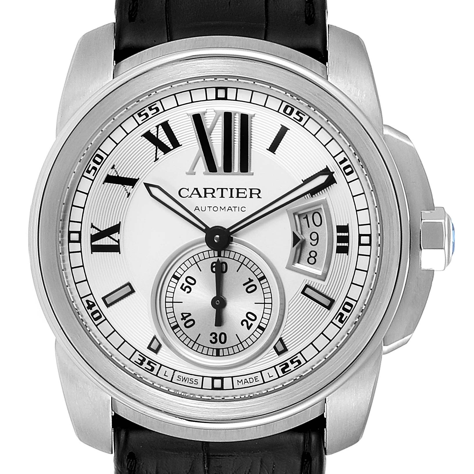 Cartier Calibre Silver Dial Steel Mens Watch W7100037 Box
