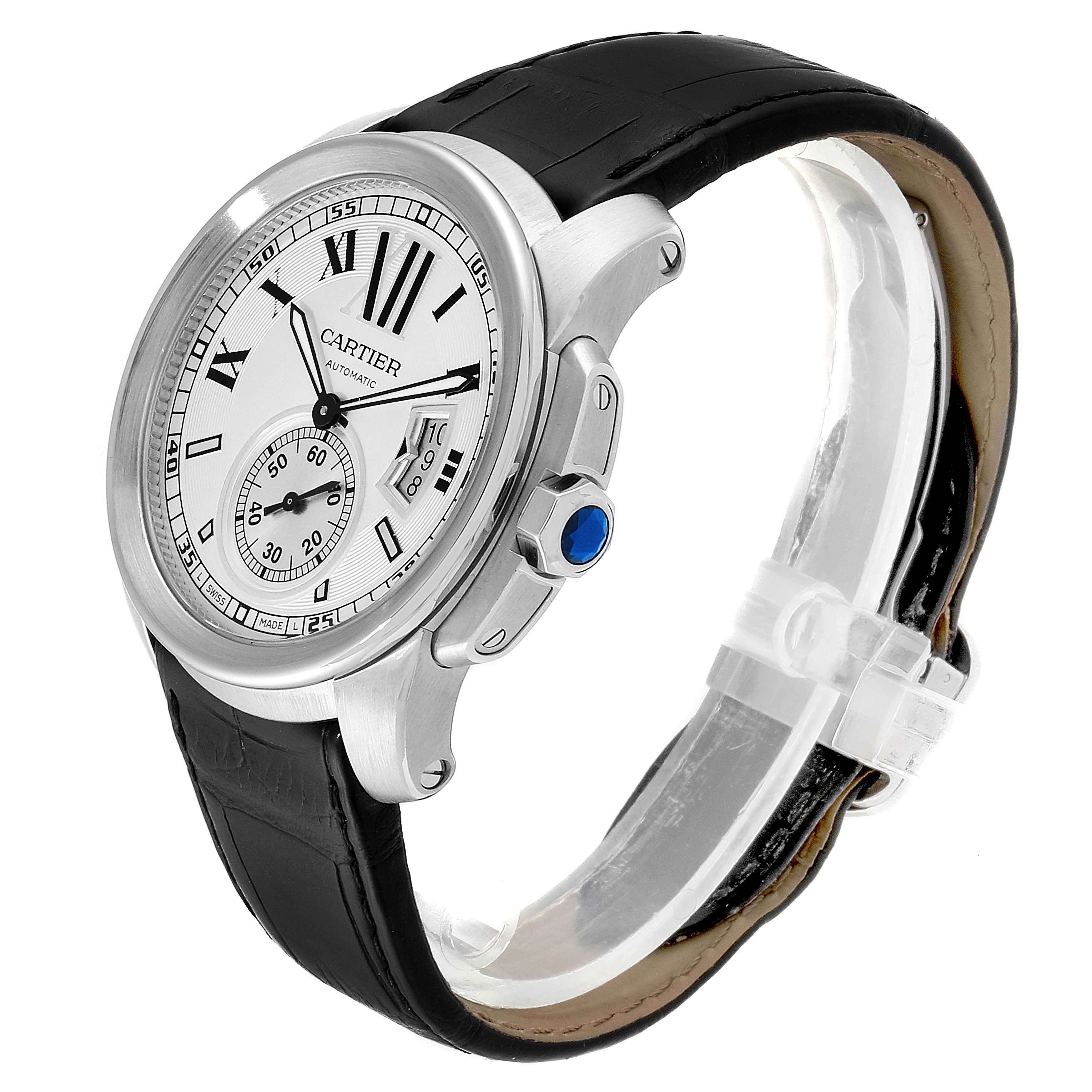 Cartier Calibre Silver Dial Steel Mens Watch W7100037 Box SwissWatchExpo