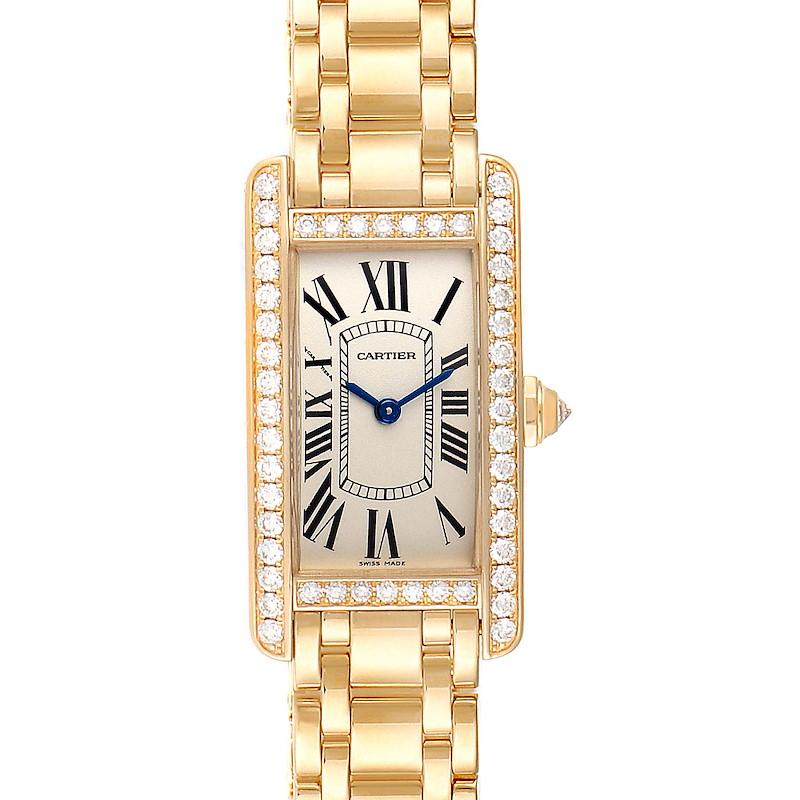 Cartier Tank Americaine Yellow Gold Diamond Ladies Watch WB7072K2 Box Papers SwissWatchExpo