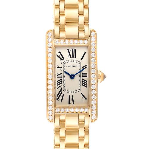 Photo of Cartier Tank Americaine Yellow Gold Diamond Ladies Watch WB7072K2 Box Papers