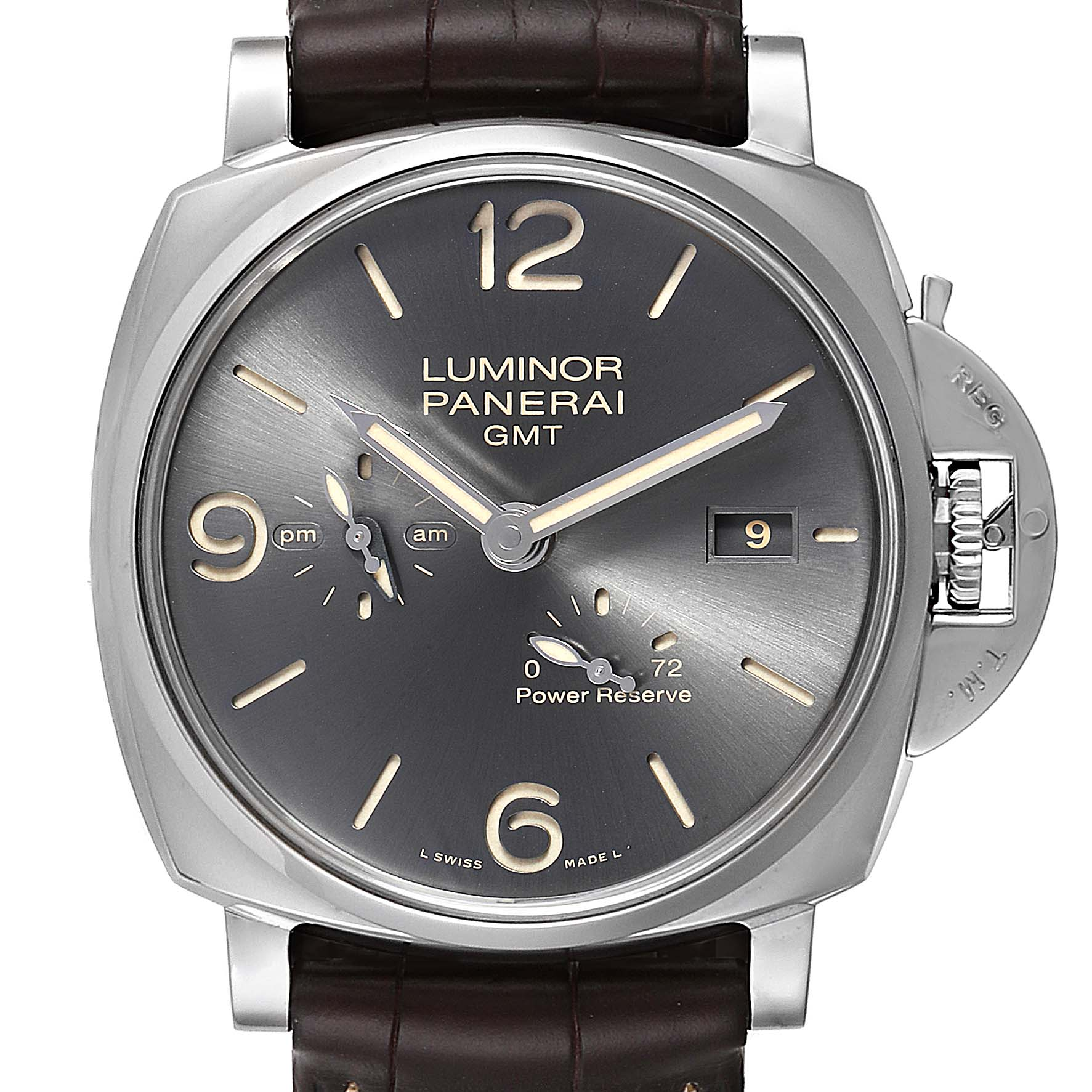 Panerai Luminor Due GMT Anthracite Dial Automtic Mens Watch PAM00944