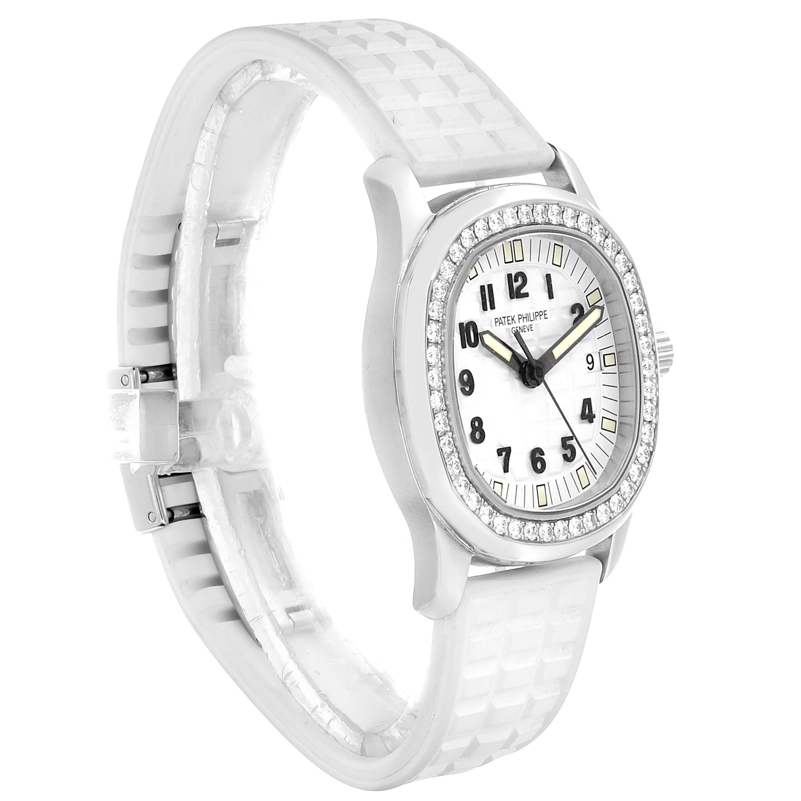 Patek Philippe Aquanaut White Dial Diamond Ladies Watch 5067 SwissWatchExpo