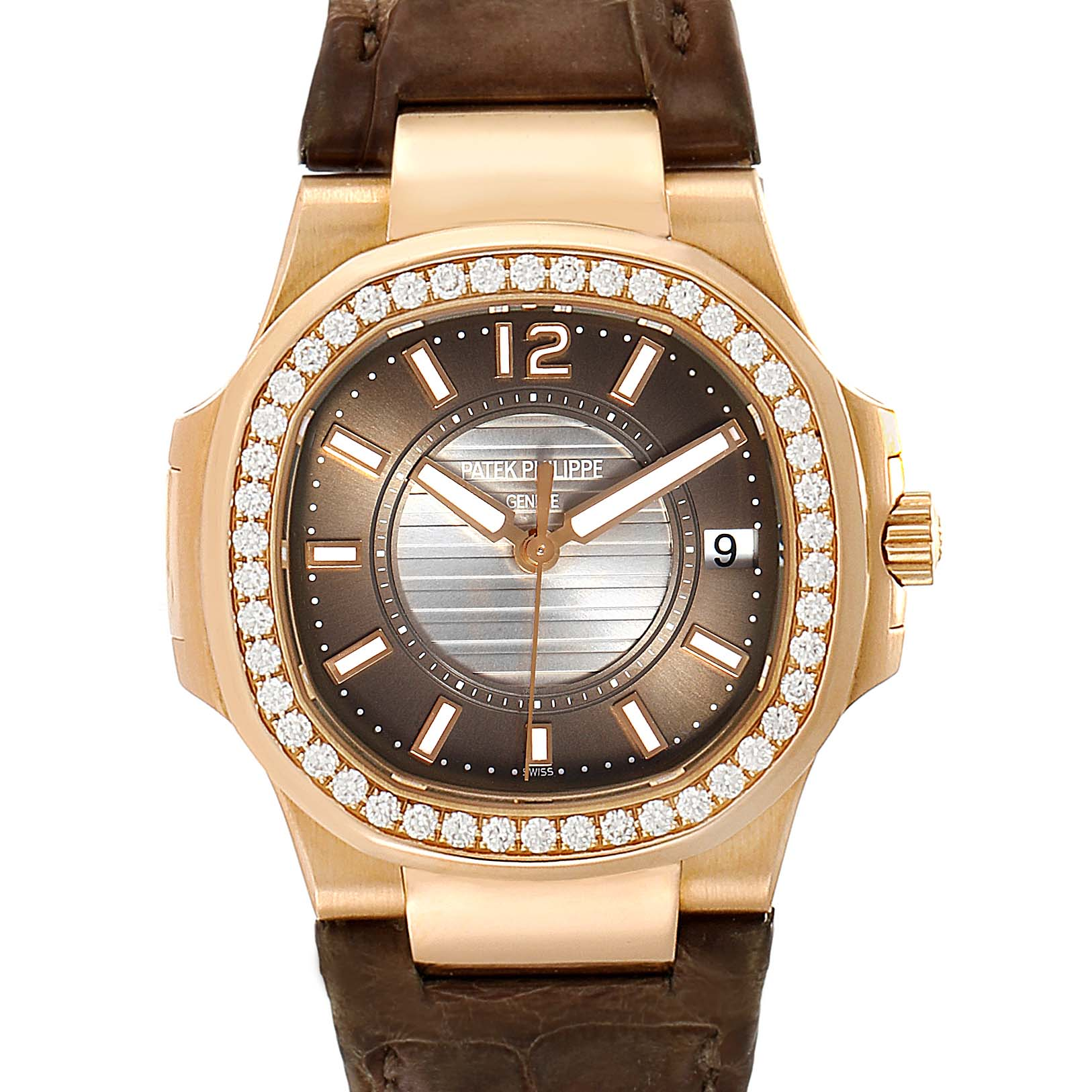 Photo of Patek Philippe Nautilus Rose Gold Diamond Brown Strap Ladies Watch 7010