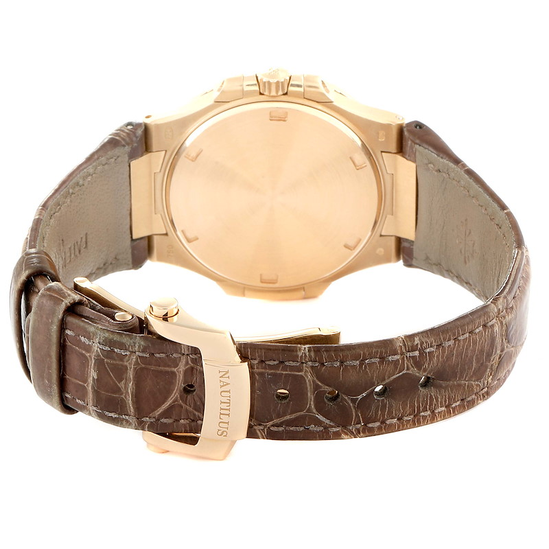 Patek Philippe Nautilus Rose Gold Diamond Brown Strap Ladies Watch 7010 SwissWatchExpo