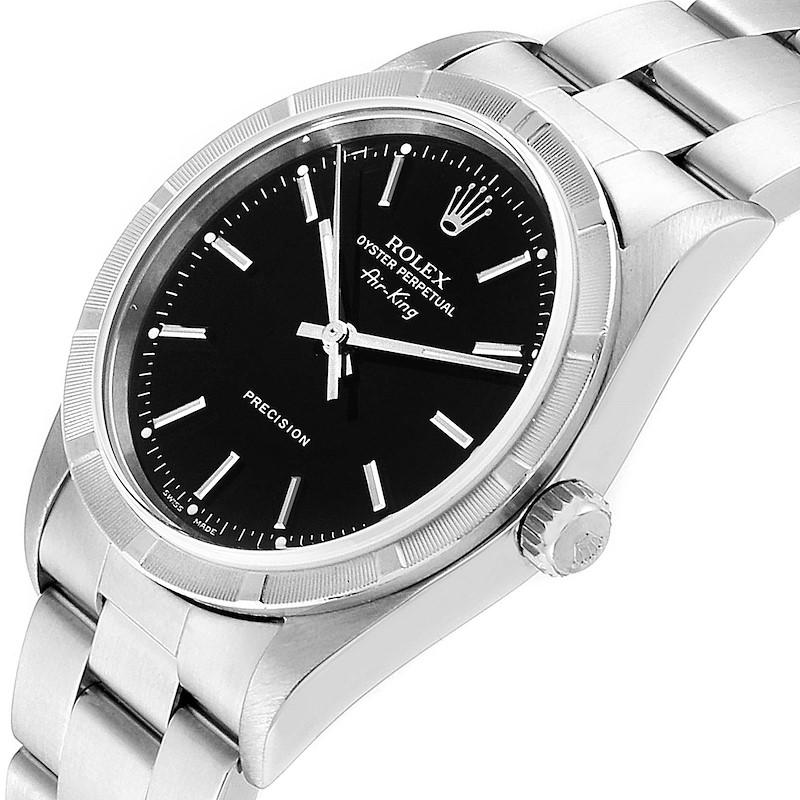 Rolex Air King 34 Black Dial Oyster Bracelet Steeel Mens Watch 14010 SwissWatchExpo
