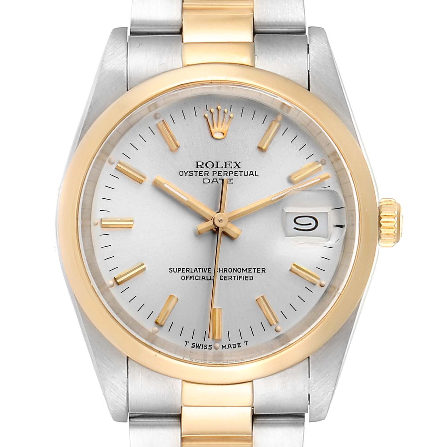 Rolex Date Steel Yellow Gold Silver Dial Vintage Mens Watch 15003