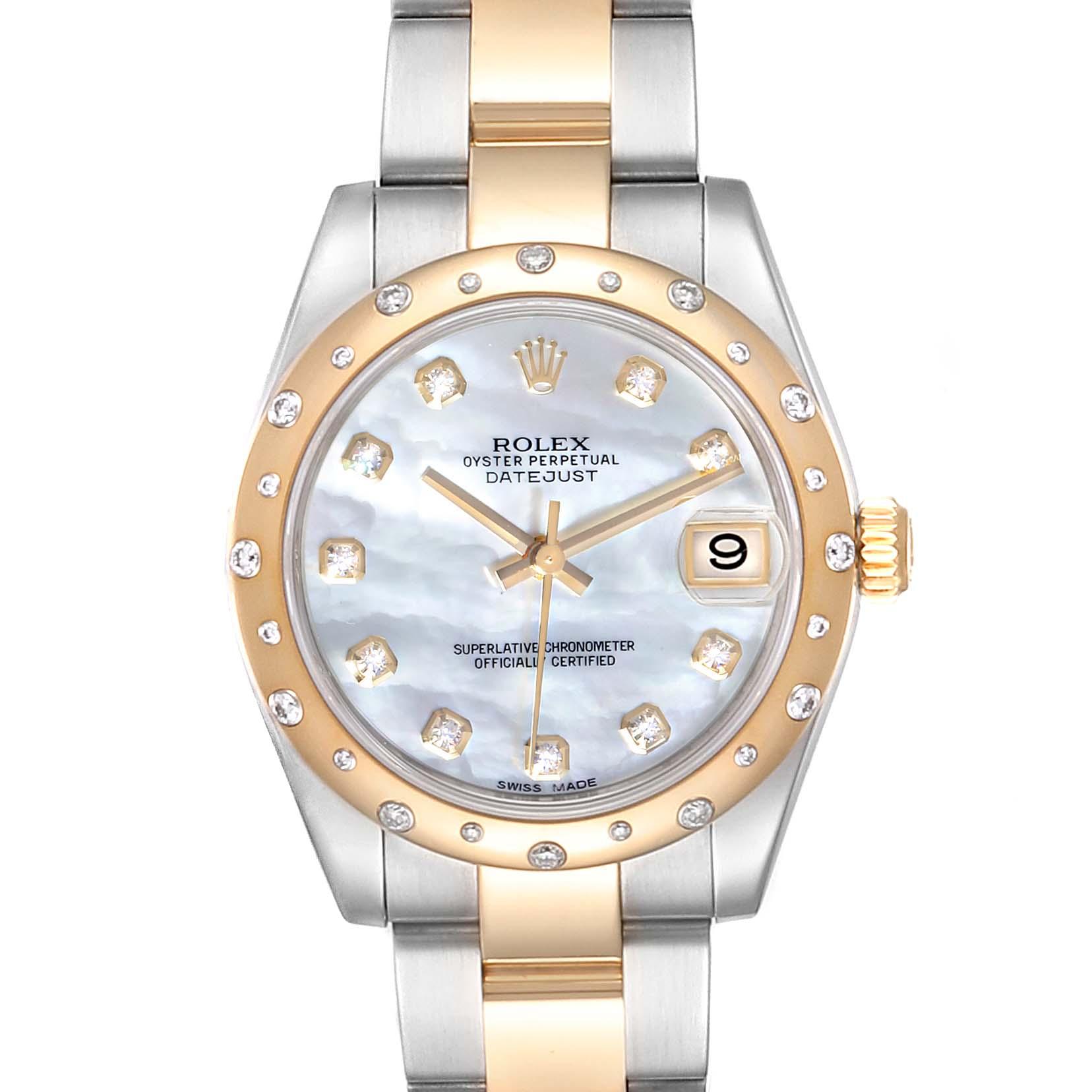 Rolex Datejust Midsize Steel Yellow Gold MOP Diamond Ladies Watch 178243