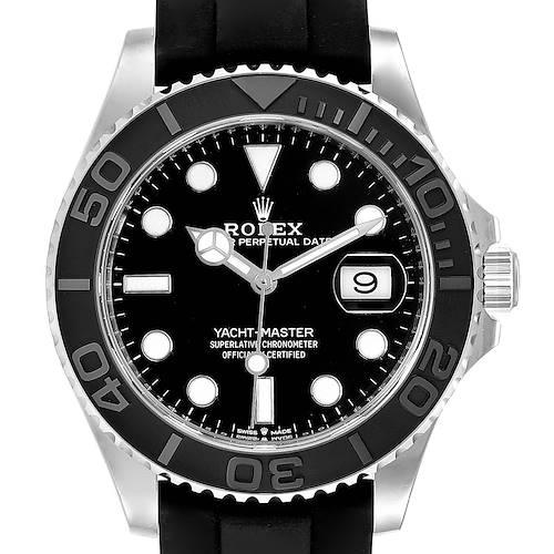 Photo of Rolex Yachtmaster White Gold Black Rubber Strap Watch 226659 Unworn