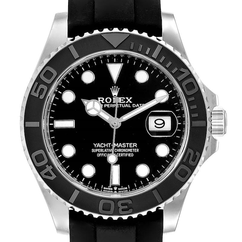 Rolex Yachtmaster White Gold Black Rubber Strap Watch 226659 Unworn SwissWatchExpo