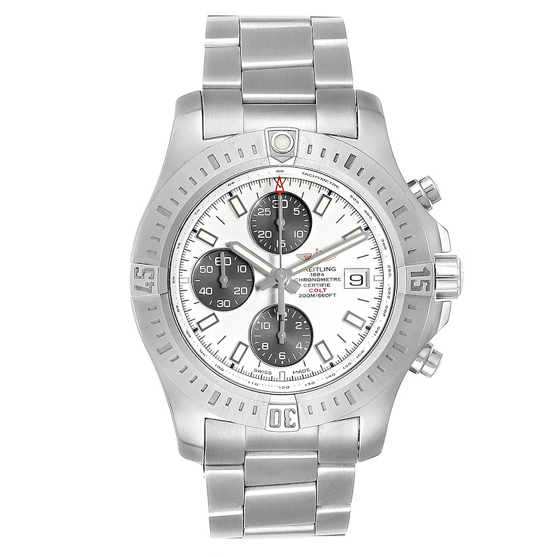 Breitling Colt Automatic Chronograph White Dial Watch A13388 Box Card SwissWatchExpo