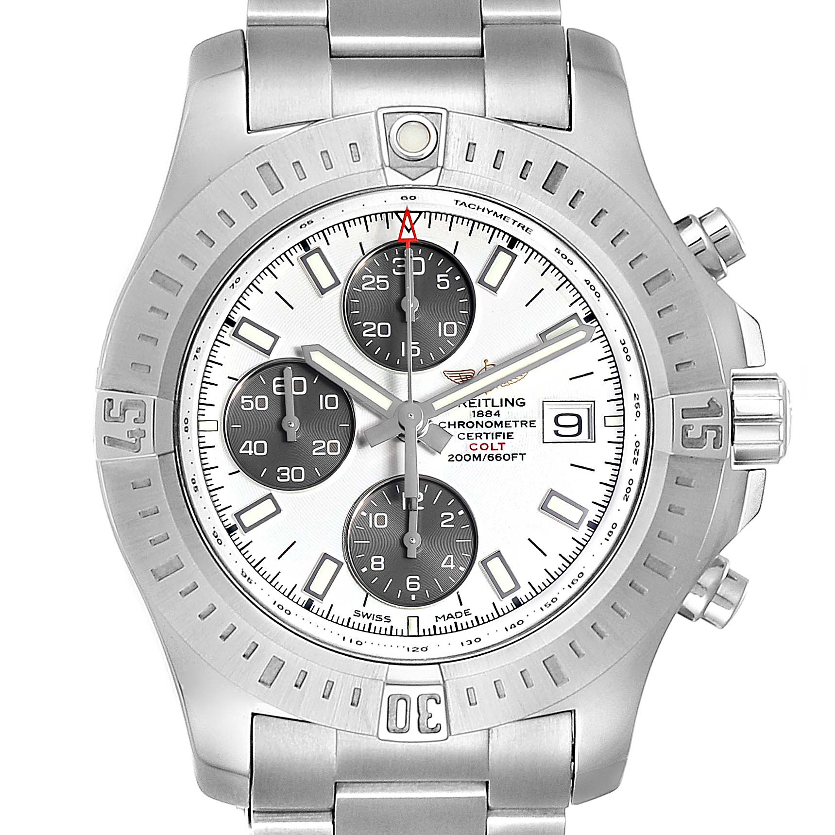 Breitling Colt Automatic Chronograph White Dial Watch A13388 Box Card