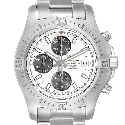 Photo of Breitling Colt Automatic Chronograph White Dial Watch A13388 Box Card