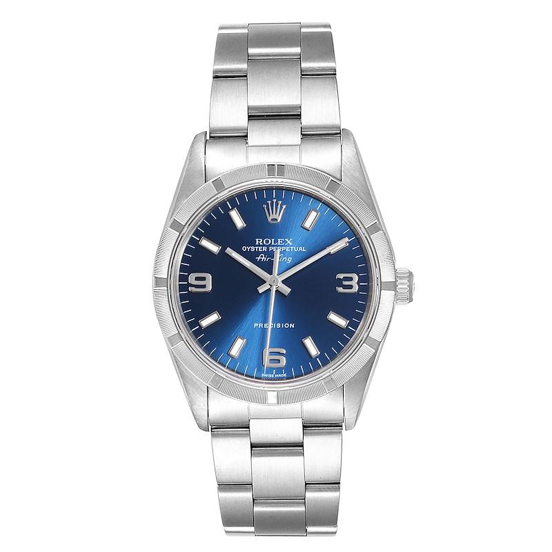 Rolex Air King 34 Blue Dial Oyster Bracelet Steel Mens Watch 14010 SwissWatchExpo