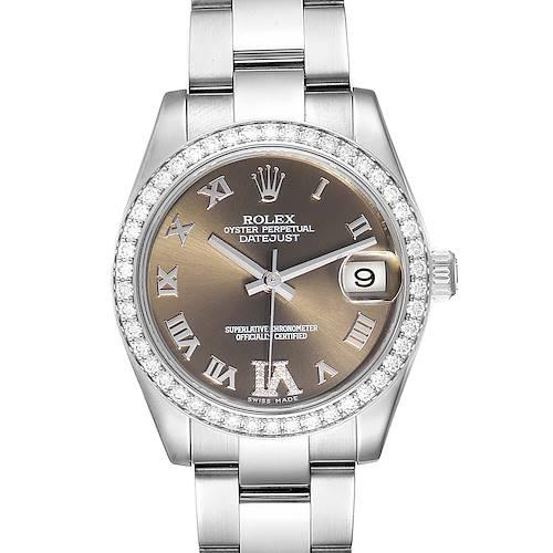 Photo of Rolex Datejust Midsize 31 Steel Diamond Ladies Watch 178384 Box Card