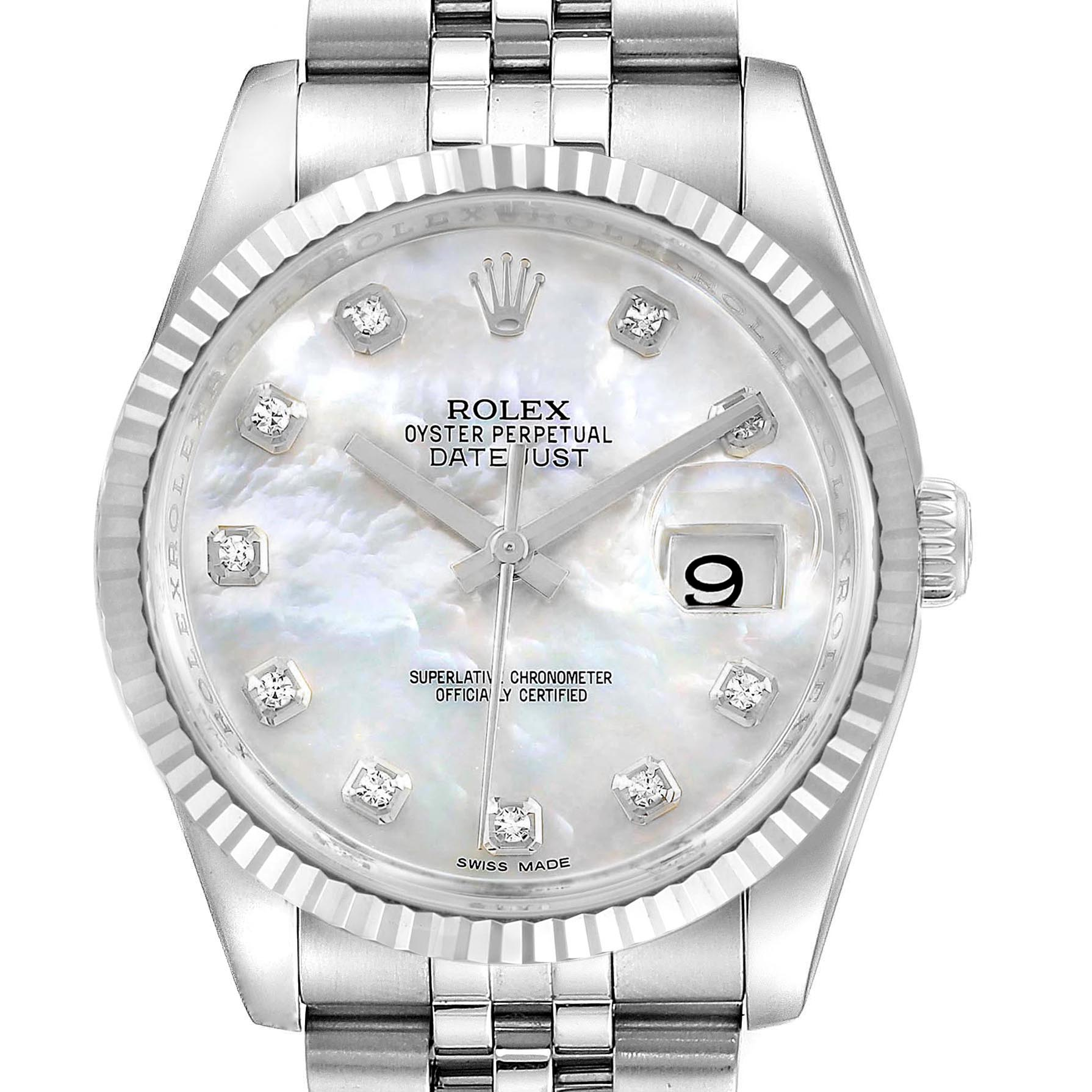 Rolex Datejust Steel White Gold MOP Diamond Dial Mens Watch 116234