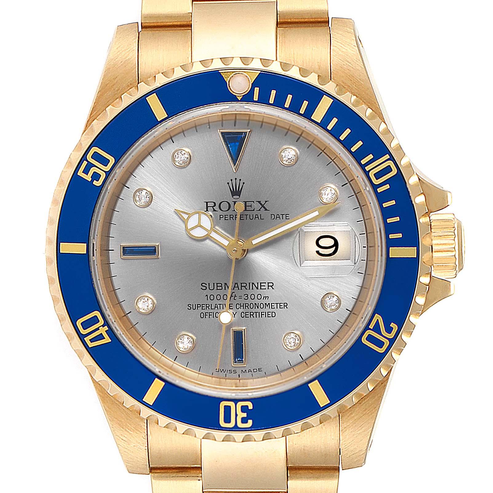 Rolex Submariner Yellow Gold Diamond Sapphire Serti Dial Watch 16618 SwissWatchExpo